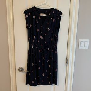 Loft- navy blue dress with pink flowers.